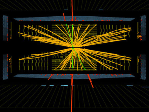 A possible signature of a Higgs boson from the LHC at CERN.