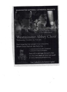 Westminster Abbey Choir advertisement 001