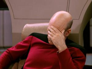"Jean-Luc Picard, Captain of the Enterprise and main character in ""Star Trek: The Next Generation"" and a classic facepalm."