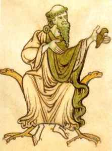 Saint Kevin and the blackbird, miniature of an Irish codex, ca. 9th or 10th cent.